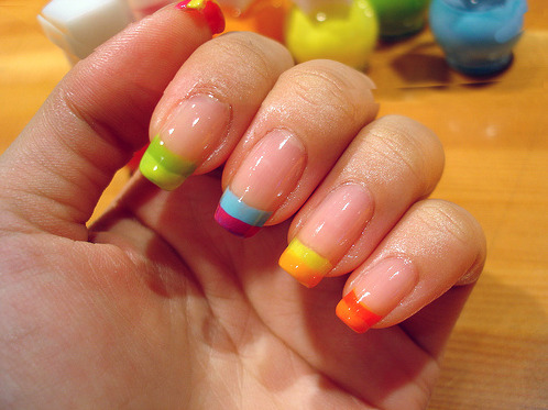 It's Pride Weekend in Seattle, which got me thinking about rainbow nails. These ones remind me of the famous Sophy Robson rainbow French manicure.