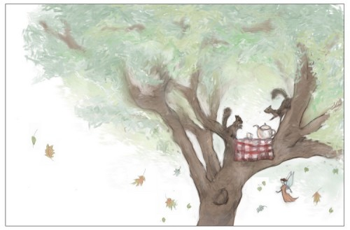 Squirrels having a little tea party, for the upcoming picture book Thimble the Fairy's Acorns & Tea, illustrated by yours  humbly! This will be used for the cover, as well as an interior illustration.