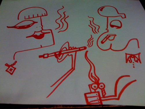 My beautiful art work inspired by a dull night at work. Entitled, Smoking Gamine.  Who's buying?