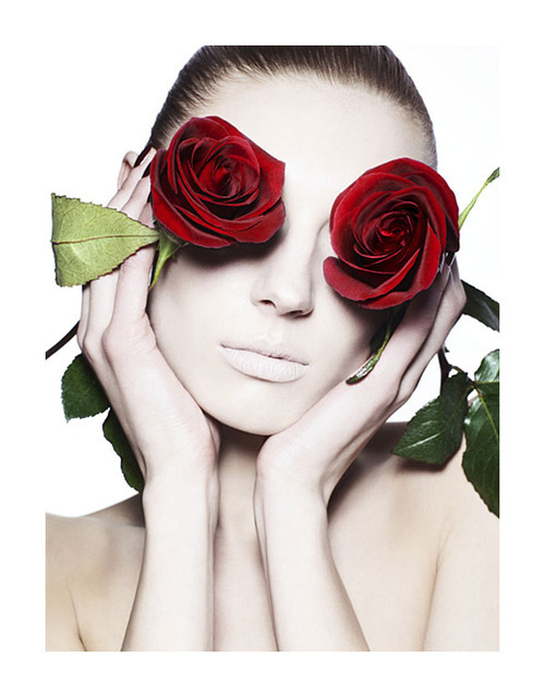 photographer: Ben Hassett Olga Sherer red roses over eyes, pale skin Photo of the Day | Pale Roses // fashiongonerogue