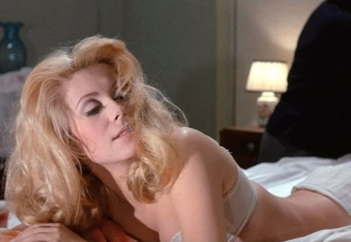 "Catherine Deneuve in Belle de Jour (1967, dir. Luis Buñuel) ""Sex without religion is like cooking an egg without salt. Sin gives  more chances to desire."" -Luis Buñuel"