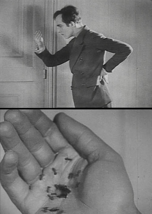 "via Un Chien Andalou (1929, dir. Luis Buñuel) (online here) ""Amusingly enough, a great many  psychiatrists and analysts (i.e., film critics) have had a great deal to  say about my movies.  I'm grateful for their interest, but I never read  their articles, because when all is said and done, psychoanalysis (i.e., film criticism), as a therapy, is strictly an upper-class  privilege. Some analysts - in despair, I suppose - have declared me  'unanalyzable,' as if I belonged to some other species or had come from  another planet (which is always possible, of course).  At my age, I let  them say whatever they want.  I still have my imagination, and in its  impregnable innocence it will keep me going until the end of my days. All this compulsion to 'understand' everything fills me with horror."" -Luis  Buñuel, in his autobiography My Last Sigh"