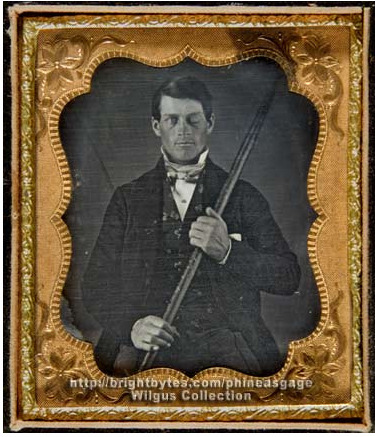 Phineas Gage is a darling of neuropsychology. He's famous because he was working on the railroad in 1848 when there was a huge explosion and a giant tamping rod shot through the side of his head and stuck out the other end and literally pulverized his frontal lobe, and he SURVIVED. For TWELVE MORE YEARS. That's incredible. And what's even more incredible is how hot he remained after the accident. Double damn.