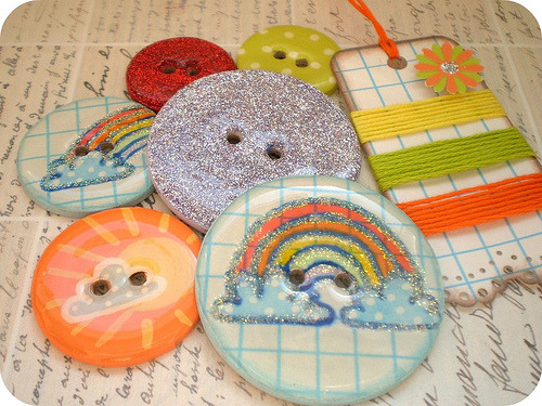6 VERY BIG Round Chipboard Epoxy Button Embellishments with Journaling Tag and Coordinating Floss-Rainbow Bright (by The LemonDrop Tree)