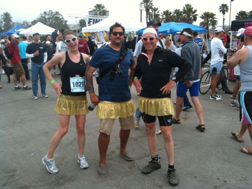 Team Salsa Pants placed 1st in the Ventura Breath of Life  triathlon relay today! Omar swam 1.5k, Bruce rode 40k on the bike and I ran 10k (in racing flats). We wore sparkle skirts and were awesome. My goal was to break 47 min and my time was 46:59 and the course was actually a bit long, at least 6.4 miles. Success.