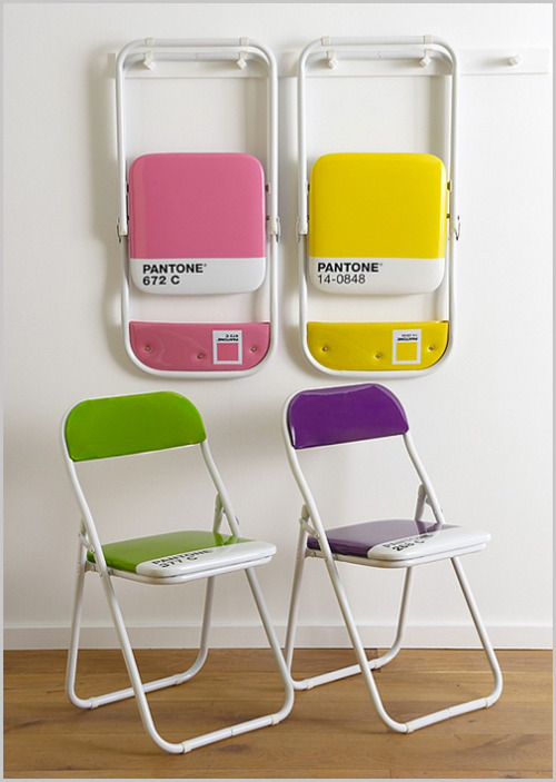 designdust:   Pantone Colour Chairs by The Holding Company…  For those that don't know, Pantone is the standardised system for the selection and accurate communication of color. Every conceivable color has its own reference number, used globally throughout the design industry. These funky folding chairs are a bit of an in-joke, showing as they do specific colors and their reference codes. A benefit to this is that you can be certain of precisely which color you'll be getting. (via) simko: