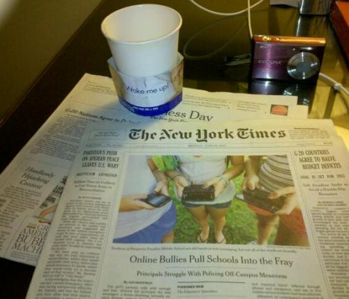 Monday Morning Up early enjoying the New York Times and a cup of coffee. Mmm! :)
