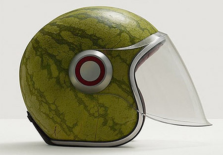 szymon:  watermelon helmet by Fulvio Bonavia  If/when I get an old-school motorcycle, I would/will rock this helmet so hard. It's a melon for your melon!