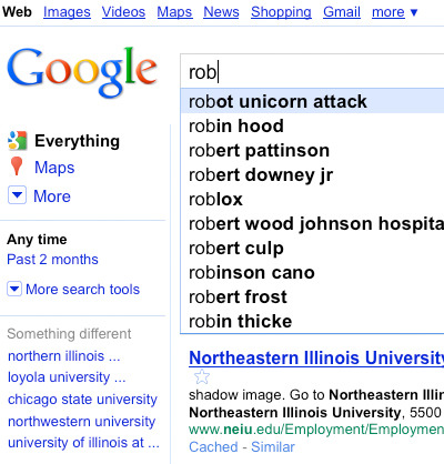 """textbook:  absolutely nothing to do with fashion but had to share…i was googling robert morris college and the top search after rob is """"robot unicorn attack"""" amazing. also…proud to see robin hood still beating out pattinson  I think robert frost deserves to be higher up…"""