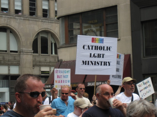 New York Catholics March Despite Ban Marchers from St. Francis Xavier, a gay-welcoming Catholic church which  had been participating in New York City's Gay Pride parade for several  years, were forbidden by NYC Archbishop Timothy Dolan from marching with  a banner identifying their parish's name in last weekends parade. Their  response? They marched with a blank banner. (story via Box Turtle Bulletin and photo of the group from my own Pride photos)