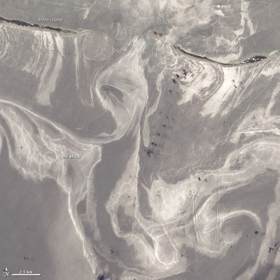 Oil Slick Around Mississippi Barrier Islands - Petit Bois Island and Horn Island on June 26 via NASA Earth Observatory