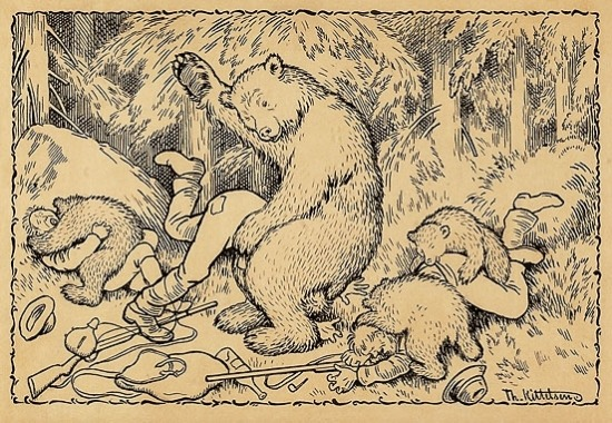 ilovewikipedia:  En uheldig bjørnejakt (An Unfortunate Bear Hunt) by Theodor Kittelsen.