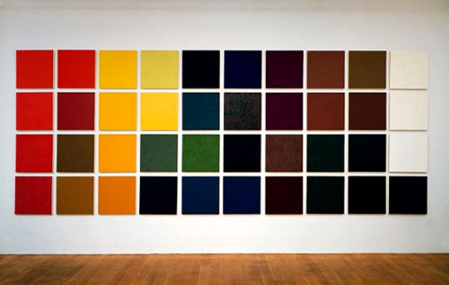 Marcia Hafif, Table of pigments, 1992 (installation/oil on canvas). thediscography : anythingcouldhappen