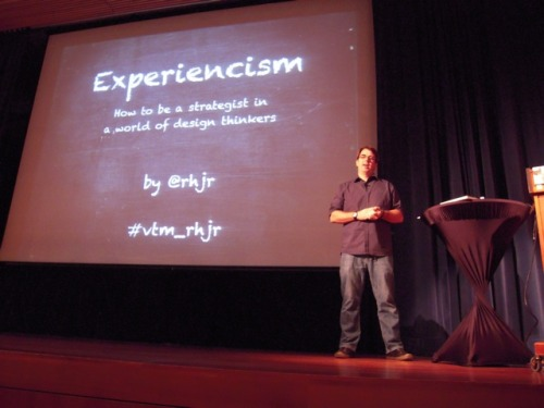 Robert Hoekman, Jr. starts his presentation on Experiencism: How to be a Strategist in a World of Design Thinkers Voices That Matter Web Design Conference 2010 - Day 2    Think about: What does your organization do?  Why does your organization do that?  What does it want to put out in the world? Why does it want to achieve? Those who know the concept have miscommunications with the people who don't know the concepts. Zappos, MINIS, Apple - success: The reason that they are succeeding is because of STRATEGY! Strategy is the motivation behind innovation. Without strategy innovation is just a word - it has no meaning. All the design thinking in the world will not turn your org into Zappos, MINI, Apple. WHAT follows WHY! Strategy: Communicate strategy of your org to everyone in your org. Strategy is just a plan. TARGET. You can't create a plan w/o having an end result. Strategy enables decision making. Strategy helps:     To define what your goal is Measurement Unifies the team (we are all after the same thing)    There are FIVE phases to developing a user strategy: Perform an audit Discover phase Define Evaluate and plan Act, React, Repeat Website: www.rhjr.net