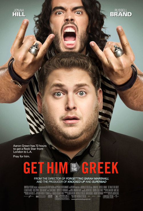 "Get Him to the Greek (2010) Written by: Nicholas Stoller and Jason SegelDirected by: Nicholas Stoller   Synopsis: A determined young record company executive attempts to transport an unpredictable rock star to L.A.'s Greek Theatre in time for his highly anticipated comeback performance in this spin-off of the comedy hit Forgetting Sarah Marshall. As the countdown to the concert begins, the intern must navigate a minefield of London drug smuggles, New York City brawls and Vegas lap dances to deliver the rock star on time.   Cast: Jonah Hill, Russell Brand, Sean 'P. Diddy' Combs, Rose Byrne, Elisabeth Moss.   Rated: R for strong sexual content and drug use throughout, and pervasive language.   Thoughts: This movie was flat-out hilarious. After seeing so many commercials for it, I was a little hesitant and worried that they'd showed all the funny parts in the previews but they didn't. I promise. This movie is just 109 minutes of pure fun and crude humor, but I mean, what else could you expect from the Apatow crew? The humor treads into the familiar gross-out jokes but there are also plenty of clever jokes, as well. There were a few scenes in the movie that seemed a bit long and I felt my mind wandering but then they'd come right back and I'd be laughing out loud again. I must say, P. Diddy actually stole the show on this one, for everyone out there like me who wasn't sure why he was put into the movie. There were times when I was thinking to myself, ""P. Diddy should be in this scene right now."" Before going to see this movie, think to yourself: Do you like Apatow's movies? Do you like comedy? Do you like Russell Brand or Jonah Hill? If you answered no to any of these questions, go see another movie. But if you're a fan of Apatow and do not get offended easily, I would recommend seeing this film."