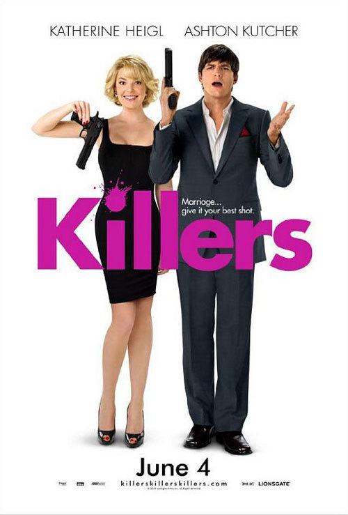 Killers (2010)Written by: Bob DeRosa and Ted GriffinDirected by: Robert LuketicSynopsis: Three years after settling down, Jen and Spencer are living the ideal suburban life until Spencer, a former government assassin, learns, there's a million dollar contract on his life and his number could be up at any moment and the hired killers that have been tracking him for the past three years could be anyone, even their neighbors. Cast: Ashton Kutcher, Katherine Heighl, Tom Selleck, Catherine O'Hara, Katheryn Winnick, Kevin Sussman, Lisa Ann Walter, Casey Wilson, Rob Riggle, Martin Mull.Rated: PG-13 for violent action, sexual material and language.   Thoughts: As sad as it is for me to say, I only went to see this movie because of Ashton Kutcher. I had no hopes for it at all but I was proven wrong, surprisingly. It's not the best movie I've seen but it's certainly not the worst. It's cheesy and predictable but it's funny and it has heart. I cannot overemphasize the vast improbability of nearly every element of this film but once you get past that, the film is enjoyable. Katherine Heigl plays the same character she's ever played: uptight and awkward at times. In this movie, she's pretty much playing her character in The Ugly Truth. There were moments in the film where I was actually cringing in embarrassment for her, but she gets better towards the end, as it always is for her. I honestly liked this movie and laughed out loud more times than I expected. However, if you're not into romantic comedies or if you take yourself too seriously, I would say wait until this comes out on DVD. I don't recommend this one but if you want to see it, I say, go for it. I wasn't disappointed.