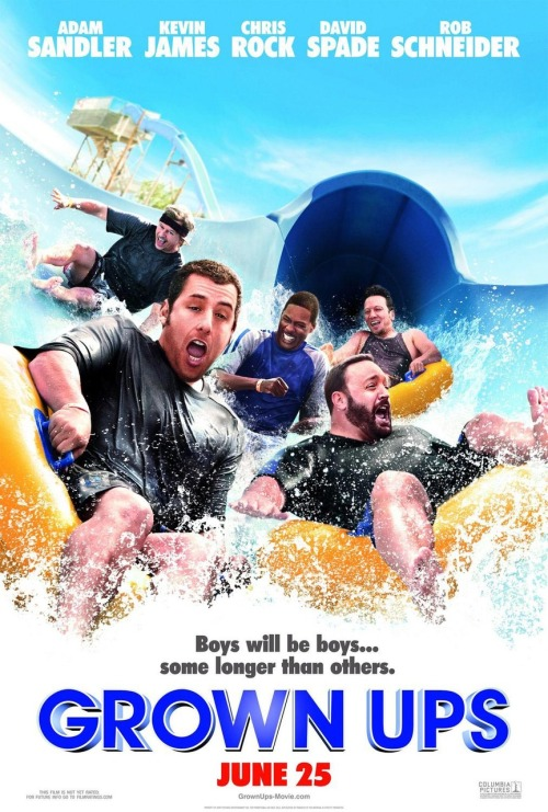 Grown Ups (2010)Written by: Adam Sandler and Fred WolfDirected by: Dennis Dugan Synopsis: The death of their childhood basketball coach leads to a reunion for five old friends who decide to spend a weekend at the site of a championship celebration from years ago. Picking up right where they left off, the buddies, with their wives and children in tow, discover why age does not necessarily equal maturity.Cast: Adam Sandler, Kevin James, Chris Rock, David Spade, Rob Schneider, Salma Hayek, Maria Bello, Maya Rudolph, Joyce Van Patten, Ebony Jo-Ann, Di Quon.Rated: PG-13 for crude material including suggestive references, language and some male rear nudity.Thoughts: Personally, I thought that this movie would've been better if it wasn't so family-oriented. The movie survives solely on serving up jokes, creative insults and physical humor. Honestly, hearing that all of these funny people were teaming up to make a movie got me extremely excited and I couldn't wait for the movie. Sitting in the movie theater, however, at times, I couldn't wait for the end of the movie. Don't get me wrong, I laughed out loud probably more times than I can remember right now but all in all, the movie wasn't a big hit with me. There were so many things this movie should've lived without. Examples: Rob Schneider's older wife, Maria Bello breast-feeding her four-year-old son. All in all, I think it'd be a nice movie for a dad to go see with his kids but that's all. If I were you, I'd wait until this one comes out on DVD. You can wait.