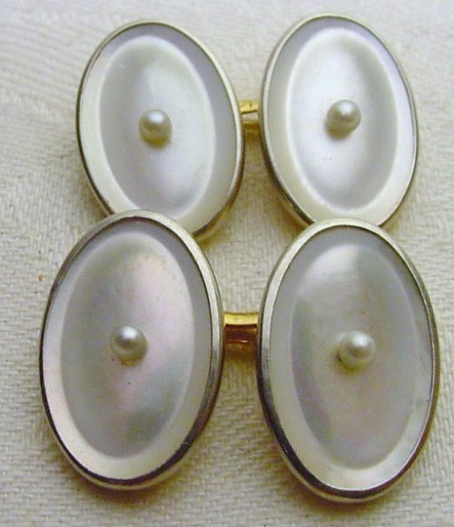 It's On eBay 14K Gold and Mother of Pearl Cuff Links Start at $9.99, end Sunday