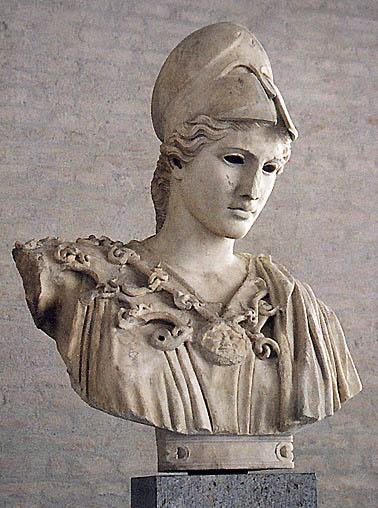 Bust of Athena copied from one made by Kresilas in 430-420 BC