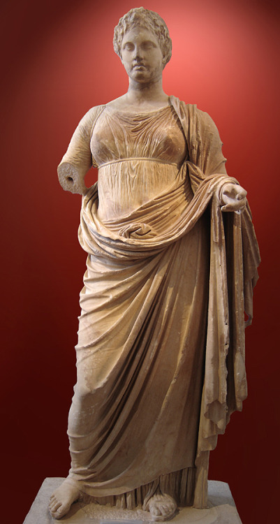 Themis. Marble, c. 300 BC. Found in Rhamnonte, at the temple of  Nemesis. Dedicated to Themis by Megacles. National Archaological Museum  of Athens.
