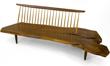 George Nakashima - Conoid bench, 1960. Via.