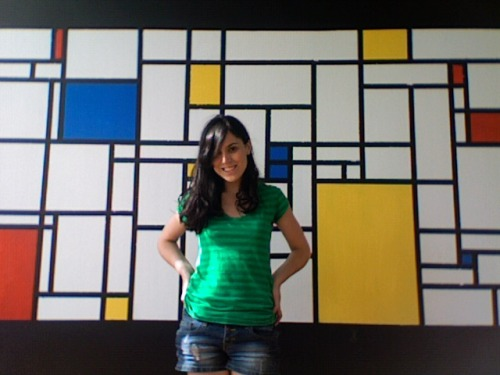 Piet Mondrian mural! I painted this on Derek's wall in about 5 hours. Quite happy, though it needs some touching up.