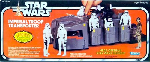 "Imperial Troop Transporter (via toyaholic)  This was hands down the lamest Star Wars vehicle. I got this as my ""big present"" for my 7th birthday.  Oh great, a vehicle that was in the movie for literally 3 seconds.  C'mon MOM! You know I wanted an X-Wing or a Yoda Swamp.  Where on my wish list did you see ""boring space wagon ride machine?"""