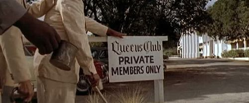 Queens Club logo from James Bond Logo Collection  John Strangway is gunned down by the 'mice' and spirited away after a  bridge game at the 'Queens Club', now the Liguanea  Club, 80 Knutsford Boulevard –  a  private sports club and hotel, and also the home of the Jamaican Squash  Association.  from The  Worldwide Guides to Movie Locations