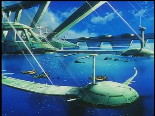 "A city on Ganymede, from Cowboy Bebop episode 10: ""Ganymede  Elegy"" [spoiler-free] There's a Jacque Fresco vibe about the design of these city ports, but a Venetian calm in the way Ganymede's fishermen go about their lives."