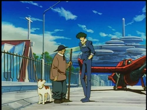 "Spike Spiegel, from Cowboy Bebop episode 10: ""Ganymede  Elegy"" [spoiler-free] It's not spoiling much to say that this is Spike, asking around the Ganymede natives for information on this episode's bounty. Amusingly he manages to park the Swordfish II in all manner of unlikely and ignorant locations while on this sortie - holding up traffic and blocking paths, as most of Ganymede favour boats over air and spacecraft."