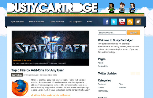 www.dustycartridge.com A project that me and a bunch of friends started, it actually was in the pipeline for years. More of a blog than anything, Dusty Cartridge focuses on gaming, film and technology stories. Powered by Wordpress, custom theme based upon WooThemes' Rockstar. Fully compatible with mobile devices.