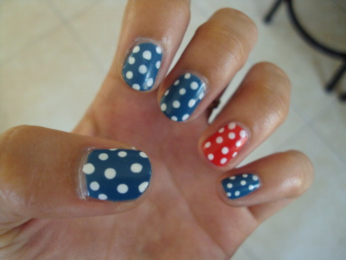 stephanieanguyen:  I'm ready for July 4th! Colors: OPI's Suzi Says Feng Shui, Tasmanian Devil Made Me Do It, and Alpine Snow for the dots
