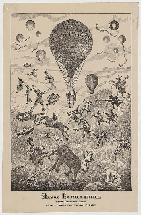 Advertisement (c.1875–c.1890) for aéronaute-constructeur breveté (aeronaut and licensed manufacturer) Henri Lachambre