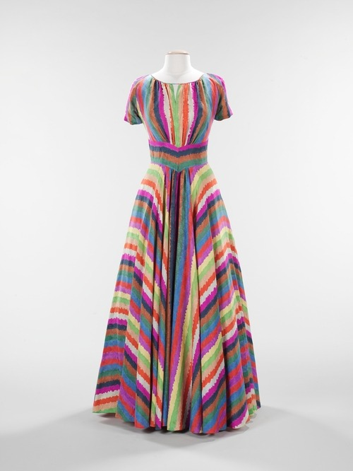 A gorgeous rainbow of an evening dress designed by Elizabeth Hawes in 1937.