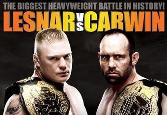 "Heavyweight Championship bout:     Brock Lesnar (4-1-0)  vs.    Shane Carwin (12-0-0)  Fighting  Style: Lesnar – Wrestling Carwin – Wrestling, Boxing, Brazlain  Jiu Jitsu Lesnar       Carwin       5 fights 4W 1L   12 fights 12W 0L   By knockout 2 0   By knockout 7 0   By submission 1 1   By submission 5 0   By decision 1 0   By decision 0 0 Brock  Lesnar is finally back in the Octagon after a scary intestinal  disorder called diverticulitis  , which sidelined him and kept him out  of any competition for almost an entire year (last fight was July 11th  2009 against Frank Mir). Lesnar,  who originally made a name for himself with his stint with WWE,  announced in 2006 after a failed attempt to make the Minnesota Vikings  defensive line that he would be joining the mixed martial arts world  signing with the organization K-1 Grand Prix. In his MMA debut on June  2nd 2007, Lesnar beat Min Soo Kim via ""submission from strikes"" at 1:09  into round one. Click here to see  Lesnar's only fight outside the Octagon (MMA debut):  Whether  the UFC scooped him up knowing he was going have the skills to be a  champion in the heavyweight division or simply because he would bring in  record numbers for pay-per-view events is inconsequential. All that  mattered was that Dana White and the UFC had Brock. Any  dedicated MMA fan is familiar with the UFC debut of Lesnar at UFC 81  against former Heavyweight Champion Frank Mir. In the fight, Lesnar  secured an early takedown but was deducted a point for hitting Mir on  the back of the head. After  another take down, the second one in a minute, Mir locked in a kneebar  on the inexperienced Lesnar, who tapped out at 1:30 of the first round.  The UFC took full advantage of the upset loss and knew they could  promote a future grudge match that would have the MMA world buzzing. The  grudge match wouldn't come until Lesnar had proven himself first with  back-to-back wins over Heath Herring (decision) and Randy Couture (with a  knockout heard around the world). Those wins earned him Heavyweight  Champion title. After Mir beat Big Nog for the Interim Heavyweight  Championship, he immediately located Lesnar in the crowd during the  post-fight interview and stated, ""You've got my belt."" The  grudge match took place at the much anticipated UFC 100 and Lesnar  completely dominated Mir for the duration of the fight winning by TKO at  1:48 of round two (earning him ""2009 Beatdown of the Year"" Honors from  Sherdog). In  the post-fight celebration, Lesnar flipped the bird to the fans who were  booing him, before grabbing the mic and saying ""I'm going to drink a  Coors Light, cause Bud Light won't pay me nothing…and I might even get  on top of my wife tonight"". This  not only pissed off Dana White, but in the post-fight press conference,  Lesnar apologized like Dana's bitch and had a bottle of Bud Light beside  him.  Not so tough at  that point… were ya Brock?  The  Lesnar-Carwin fight has been a long time coming after Lesnar pulled out  of the UFC 106 card due to an undisclosed illness, which later was  deemed to be diverticulitis (he also suffered from mononucleosis when  his immune system was beaten down).   The  fight was changed to UFC 108, and yet again Lesnar had to pull out of  the fight and more was disclosed about his illness; in summary, he had  fecal matter leaking into his abdomen from a hole in his intestine.  Doctors have stated the infection may have been in his body for  approximately a year prior to being noticed and treated. There  is no doubt that everyone is wondering how Brock Lesnar is going to  fare against one of the most ferocious heavyweights the MMA world has to  offer in the Octagon after being sidelined for so long. As  big and skilled as Lesnar is, he won't be able to lie on top of his  opponent and control Carwin like he has in past fights. Carwin naturally  sits around 260 lbs; Lesnar will cut to 265 and fight around 280. But  not only is Carwin a big man himself, but the strength he possesses is  that of a gorilla, and no one except for Lesnar and Dana White truly  knows how sick Lesnar was. Will he be able to rebound? It  won't matter. Carwin will be too much as Lesnar's biggest test (and  vice-versa), but having been sick or not, Lesnar will be overwhelmed on  July 3. Shane  Carwin has hands of steel. Not only can he hit harder than Lesnar, but  he also has similar credentials when you consider both fighters were  NCAA national wrestling champions as well as superb athletes on the  gridiron. Carwin  fought his first eight fights in organizations outside the Octagon,  where he would become the ""Ring of Fire"" Heavyweight Champion in the  fight prior to signing with the UFC. Dana White knew he needed to sign  Carwin as fast as Carwin was knocking out everyone he faced. After  his MMA debut went two minutes and 11 seconds into the first round,  Carwin didn't allow another fight past the two-minute mark until his  most recent fight against Frank Mir (3:48 of round one), and every  victory has come via knockout or ""TKO submissions."" Back  in May 2008 (UFC 84), Carwin made his Octagon debut and won just 44  seconds into round one with a devastating punch that sent Wellisch's  mouthpiece into the upper deck. At UFC 89, Neil Wain didn't fare any  better when he was TKO'd at 1:31 of the first round. At  this point, the UFC knew they needed to step up the competition that  Carwin was facing. Dana White and fightmaker Joe Silva brought in former  No. 1 contender and Brazilian Jiu Jitsu specialist Gabriel Gonzaga to  challenge Carwin. Challenge  he did not, and Carwin continued to skyrocket up the rankings after a  straight right hand put Gonzaga on his back just 69 seconds into the  fight. After the UFC fumbled with the idea of a Carwin-Velasquez fight  to become the No. 1 contender, they canned it and were set to have Brock  Lesnar defend his belt at UFC 106 against the undefeated Carwin. Lesnar  got ill, and it was pushed back to UFC 108. Shortly after, when it was  determined Lesnar would need more time to recover, the UFC paired up  Carwin against Mir, in an interim Heavyweight Championship bout. While  some fighters would be pissed off if their opponent pulls out of a  fight for the title, Carwin didn't say a word. All  he did was quickly take care of Frank Mir (the same Mir who went to  round two with Lesnar) when he TKO'd him at  3:43 of round one at UFC 111  , winning the interim belt.  Afterwards Lesnar came in and said Carwin didn't have the ""real belt""  but Carwin admitted it and stated he'll be taking Brock's. And he's  right. He will. I  have personally watched all 12 of Carwin's professional bouts, and long  ago I knew he would be the Heavyweight Champion. I've grown to respect  Carwin as a fighter. He is  one of the most down-to-earth people in the sport. You'll never hear  him flipping off fans or yelling into the camera while foaming at the  mouth. He  respects his opponents, doesn't talk trash, yet has the fundamentals to  be able to if he wanted, but his values overpower his mouth. He thinks  smart, not hard and hasn't had an illness that almost killed him within  the last twelve months. Carwin  has been waiting for this moment for a long, long time and after the  fight, I'm sure Carwin and his entourage will be spilling plenty of Bud  Light. TheCoach's Pick: CARWIN via TKO"