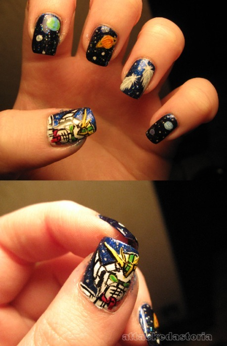 gundam wing nails. oh don't roll your eyes at me. i'm not ashamed that i watched this as a kid on oldschool toonami and i still love it. giant robots and angsty teenage boys in space, what's not to like?