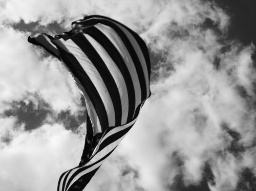 photographer: Hedi Slimane black and white, USA flag under clouds HEDI SLIMANE DIARY