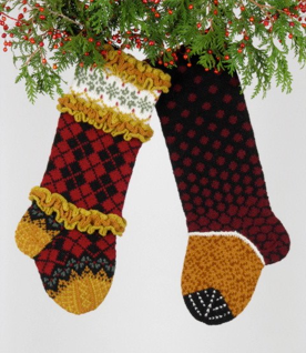 via www.judyscolors.com Cool Christmas stockings to be knitted.