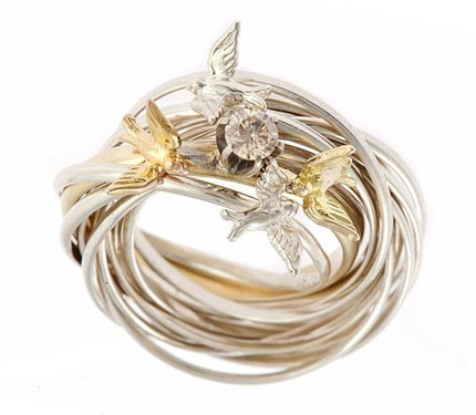 diamond engagement nest ring by Jennifer Yi