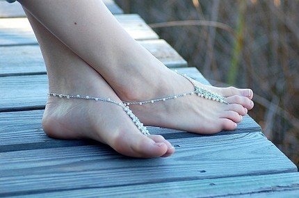 Barefoot sandals are hand-beaded/crocheted out of glass beads and a specialized metallic elastic by 4mydolly