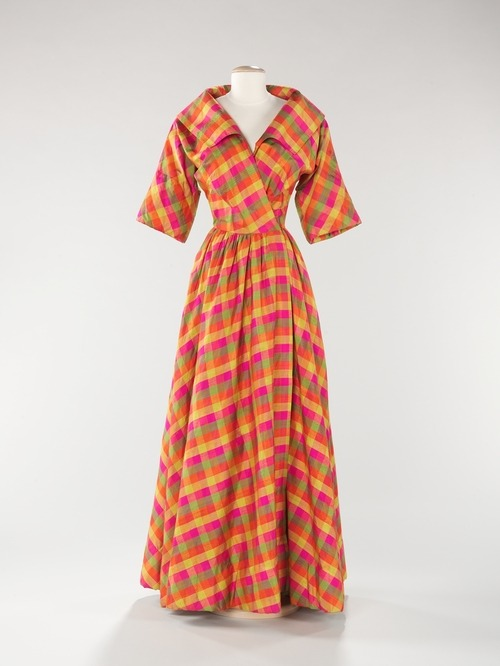 A neon plaid evening gown by Bonnie Cashin, 1957.