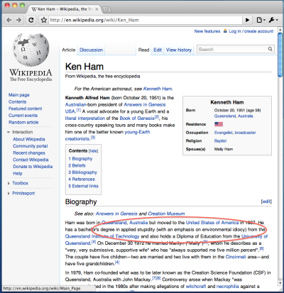 Ken Ham's qualifications are apparently suitable for him to be a top-notch creationist go-to guy. /hattip @reneehendricks