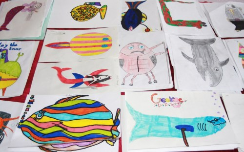 Some of the awesome characters created by 55 local primary school kids for an animated short film about a Dysart sailor's underwater misadventures. Writing them all in is gonna be fun!!