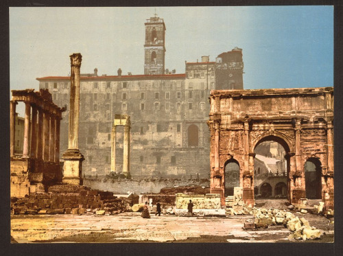crashinglybeautiful:  Temple of Saturn and Triumphal Arch of Septimus Severus, Rome. Photomechanical print, c. 1900. (from: invisiblestories)