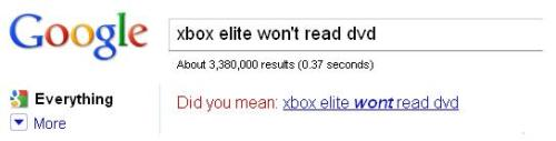 "My Xbox broke, and I was trying to Google some possible technical solutions, when I noticed that Google appears to be encouraging me to make a typo. I suppose it's possible that Google's algorithms know that typing ""wont"" instead of ""won't"" would produce better results."