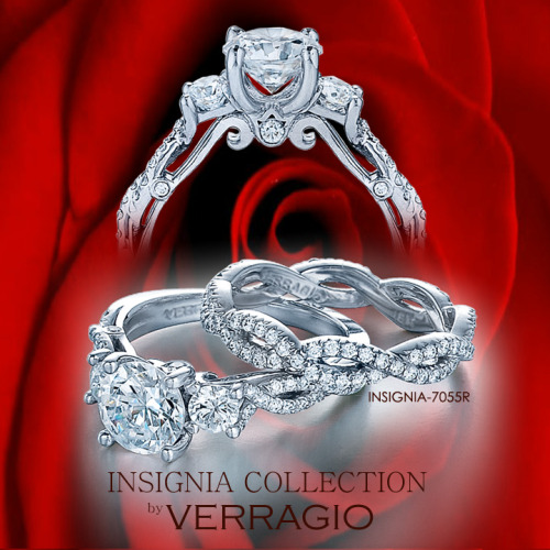 INSIGNIA-7055R engagement ring from the Insignia Collection, featuring 0.50Ct. of princess and round brilliant cut diamonds to enhance a princess or a radiant diamond center.Available in Palladium, 18K Gold and Platinum. View the daily Verragio engagement rings on the Verragio Fan Page: http://www.facebook.com/Verragio