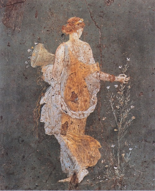 Pompeian wall painting: Flora with a cornucopia