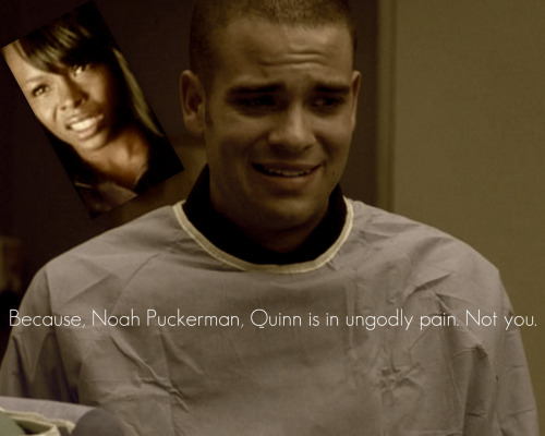 Aphasia thinks Puck needs to work on his happy face. Glee - 1x22 'Journey' [deleted scene]