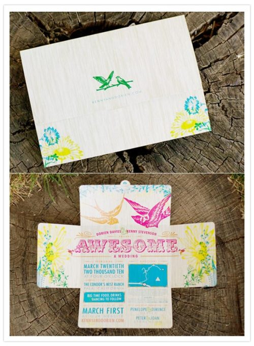 Super-bright and fun wedding invite