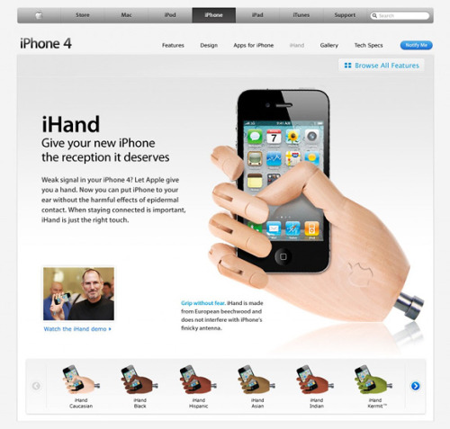 jairob:    iHand - a way to hold your iPhone  When do these go on sale? I'm totally lining up.